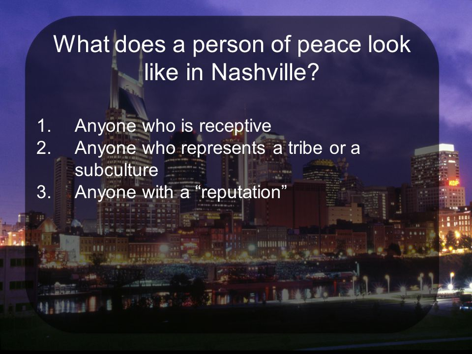 What does a person of peace look like in Nashville.