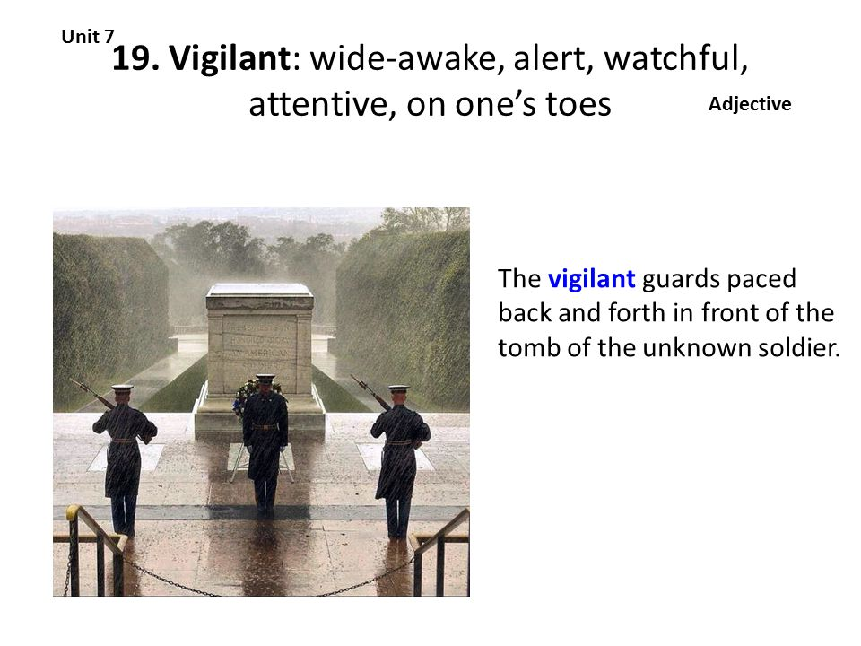 19. Vigilant: wide-awake, alert, watchful, attentive, on one's toes Unit 7 Adjective The vigilant guards paced back and forth in front of the tomb of