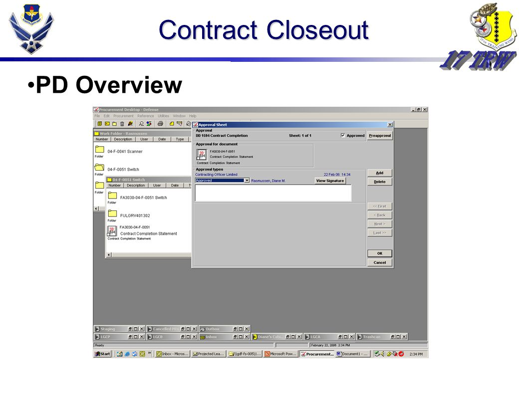 Contract Closeout PD Overview