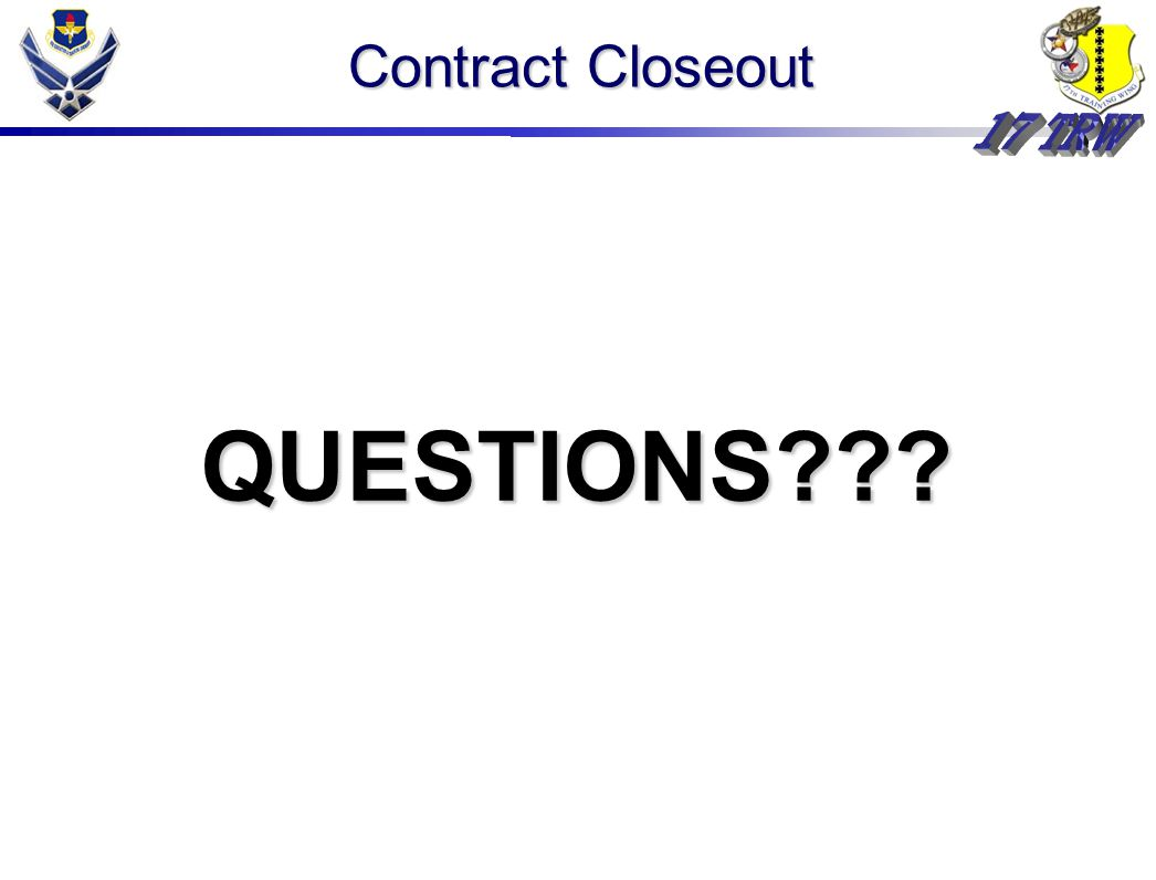 Contract Closeout QUESTIONS