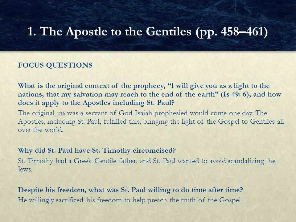 """FOCUS QUESTIONS What is the original context of the prophecy, """"I will give you as a light to the nations, that my salvation may reach to the end of th"""