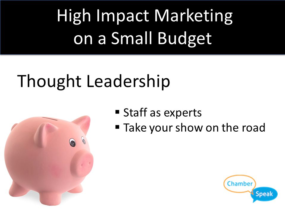 High Impact Marketing on a Small Budget Thought Leadership  Staff as experts