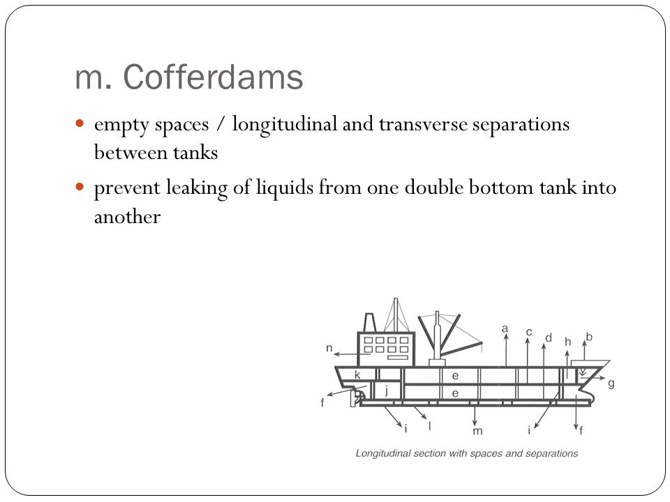 m. Cofferdams empty spaces / longitudinal and transverse separations between tanks prevent leaking of liquids from one double bottom tank into another