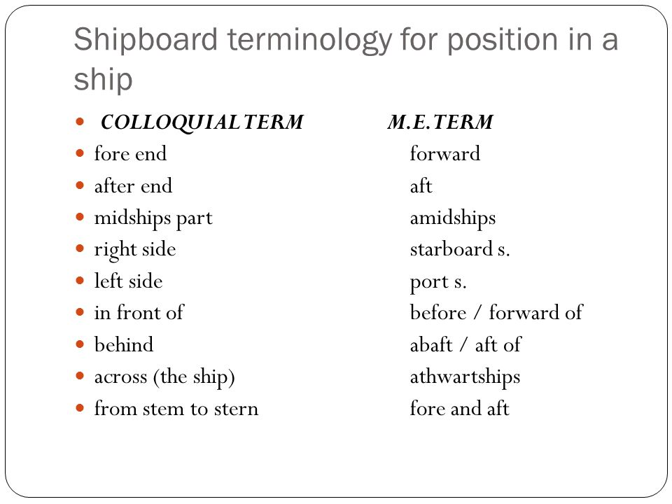 Shipboard terminology for position in a ship COLLOQUIAL TERM M.E. TERM fore endforward after endaft midships partamidships right sidestarboard s. left