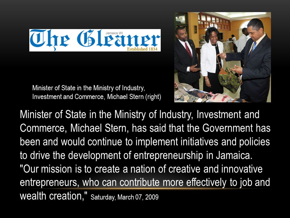 Michael Stern, has said that the Minister of State in the Ministry of Industry, Investment and Commerce, Michael Stern, has said that the Government has been and would continue to implement initiatives and policies to drive the development of entrepreneurship in Jamaica.