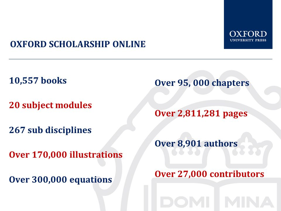 10,557 books 20 subject modules 267 sub disciplines Over 170,000 illustrations Over 300,000 equations Over 95, 000 chapters Over 2,811,281 pages Over 8,901 authors Over 27,000 contributors