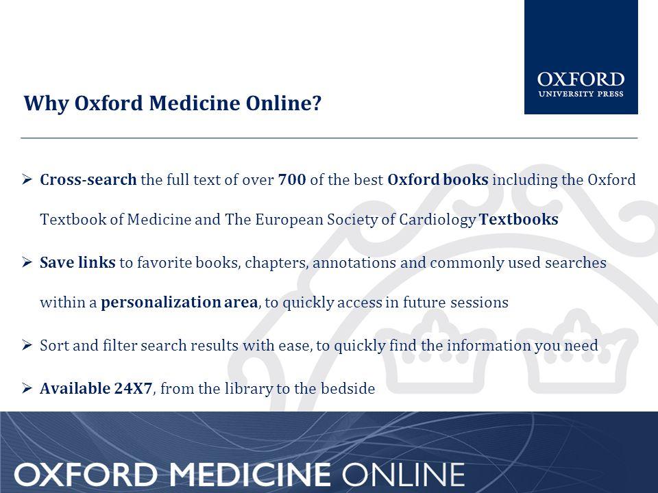 Why Oxford Medicine Online.