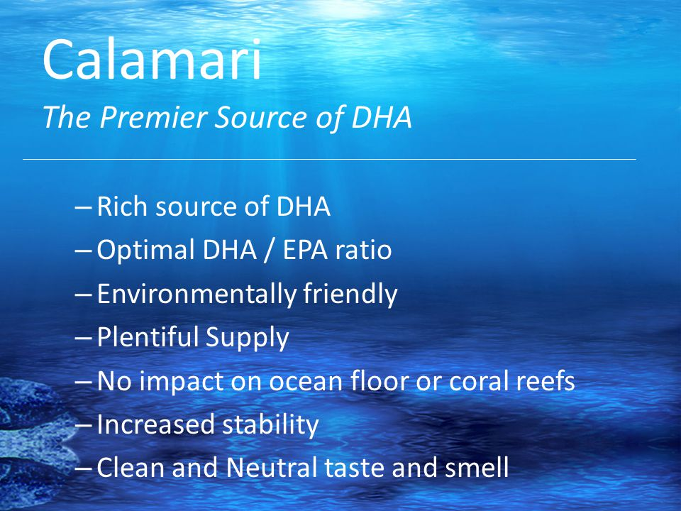 Calamari The Premier Source of DHA – Rich source of DHA – Optimal DHA / EPA ratio – Environmentally friendly – Plentiful Supply – No impact on ocean floor or coral reefs – Increased stability – Clean and Neutral taste and smell
