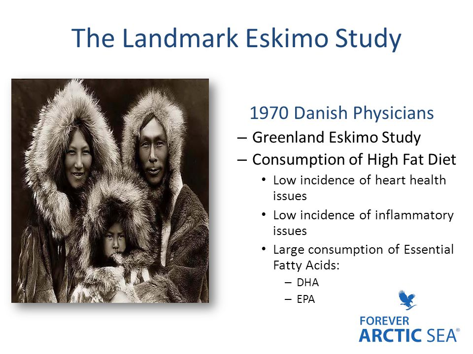 The Landmark Eskimo Study 1970 Danish Physicians – Greenland Eskimo Study – Consumption of High Fat Diet Low incidence of heart health issues Low inci