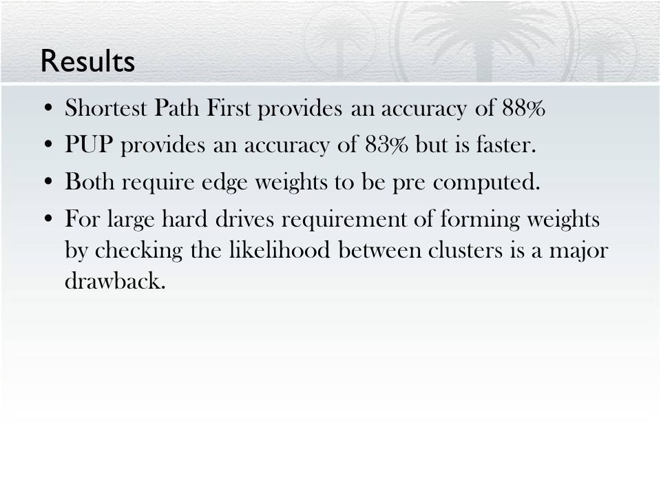 Results Shortest Path First provides an accuracy of 88% PUP provides an accuracy of 83% but is faster.