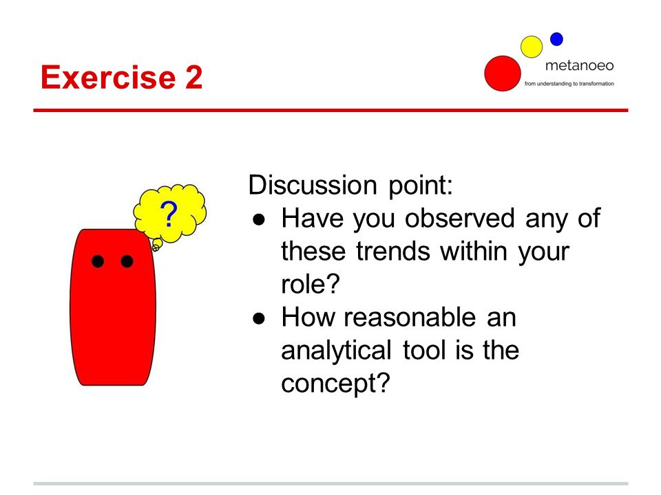 Exercise 2 Discussion point: ●Have you observed any of these trends within your role.