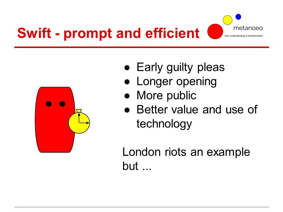 Swift - prompt and efficient ●Early guilty pleas ●Longer opening ●More public ●Better value and use of technology London riots an example but...