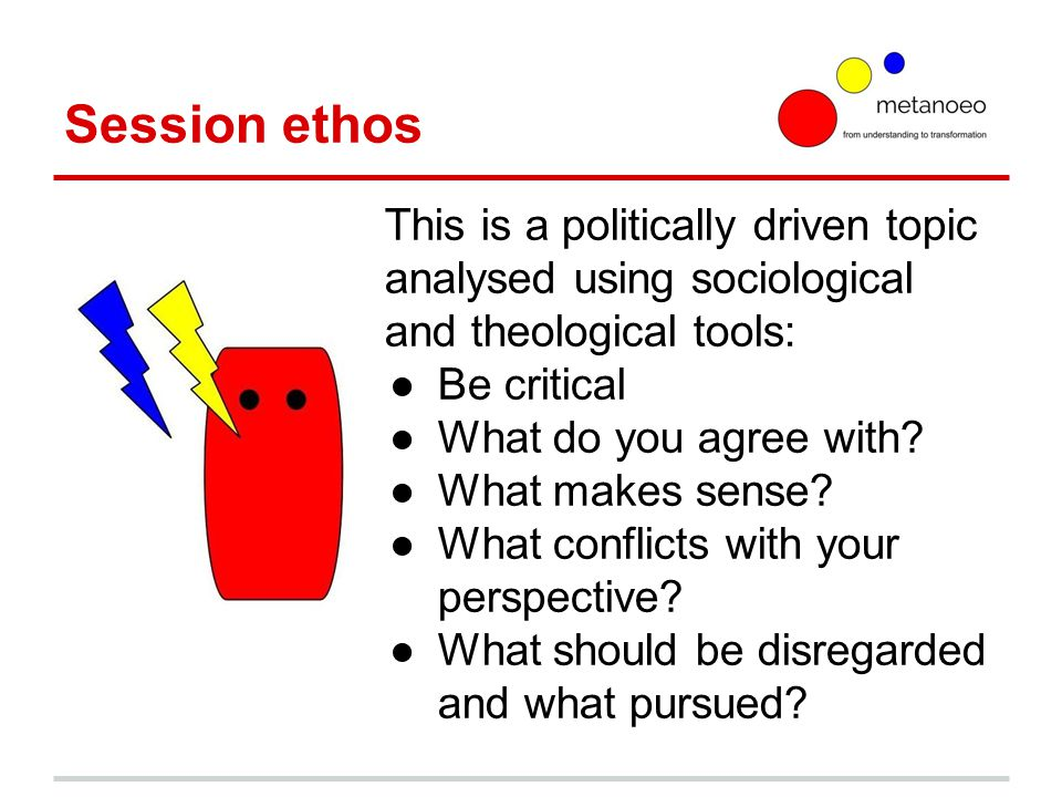 Session ethos This is a politically driven topic analysed using sociological and theological tools: ●Be critical ●What do you agree with.