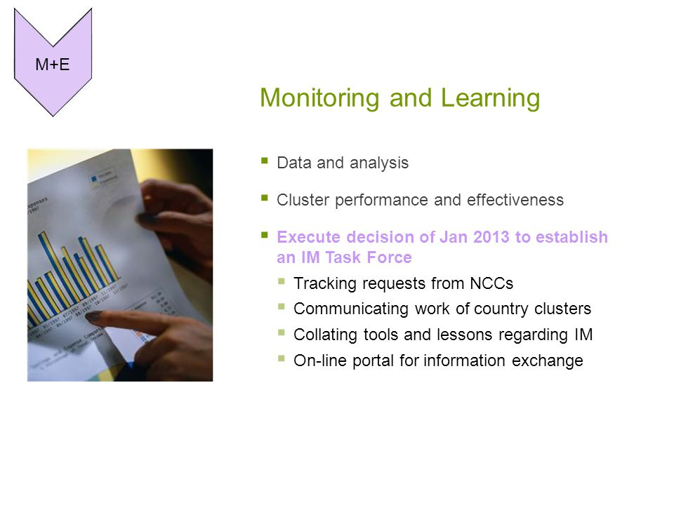Monitoring and Learning  Data and analysis  Cluster performance and effectiveness  Execute decision of Jan 2013 to establish an IM Task Force  Tracking requests from NCCs  Communicating work of country clusters  Collating tools and lessons regarding IM  On-line portal for information exchange M+E