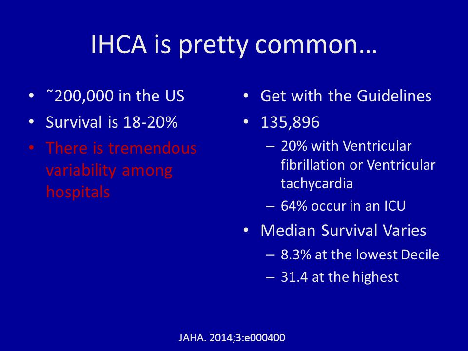 IHCA is pretty common… ˜200,000 in the US Survival is 18-20% There is tremendous variability among hospitals Get with the Guidelines 135,896 – 20% wit