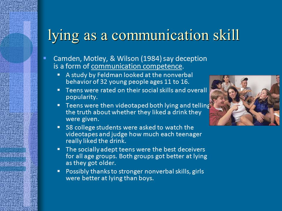 motivational impairment effect DePaulo & Kirkendol (1989) developed the MIE Liars tend to over-control their nonverbal behavior Liars are more rigid, exhibit less body movement –deception is often associated with less finger, hand, lower limb movements Liars do this because they think that nervousness, fidgeting, shifting will be perceived as deception Liars do this because they are concentrating on other channels and can't devote attention to their movements