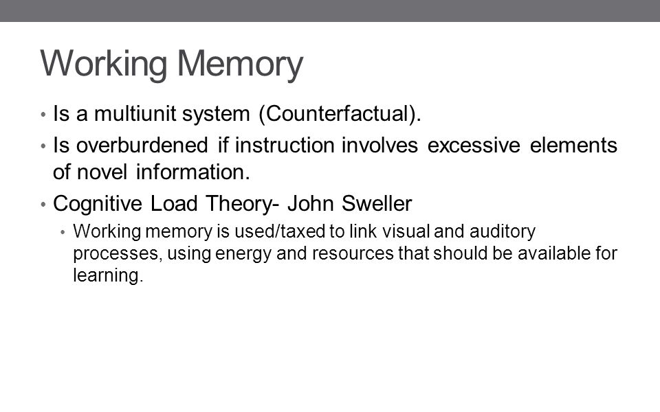 Working Memory Is a multiunit system (Counterfactual).