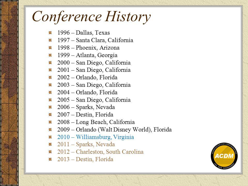 Conference History 1996 – Dallas, Texas 1997 – Santa Clara, California 1998 – Phoenix, Arizona 1999 – Atlanta, Georgia 2000 – San Diego, California 2001 – San Diego, California 2002 – Orlando, Florida 2003 – San Diego, California 2004 – Orlando, Florida 2005 – San Diego, California 2006 – Sparks, Nevada 2007 – Destin, Florida 2008 – Long Beach, California 2009 – Orlando (Walt Disney World), Florida 2010 – Williamsburg, Virginia 2011 – Sparks, Nevada 2012 – Charleston, South Carolina 2013 – Destin, Florida