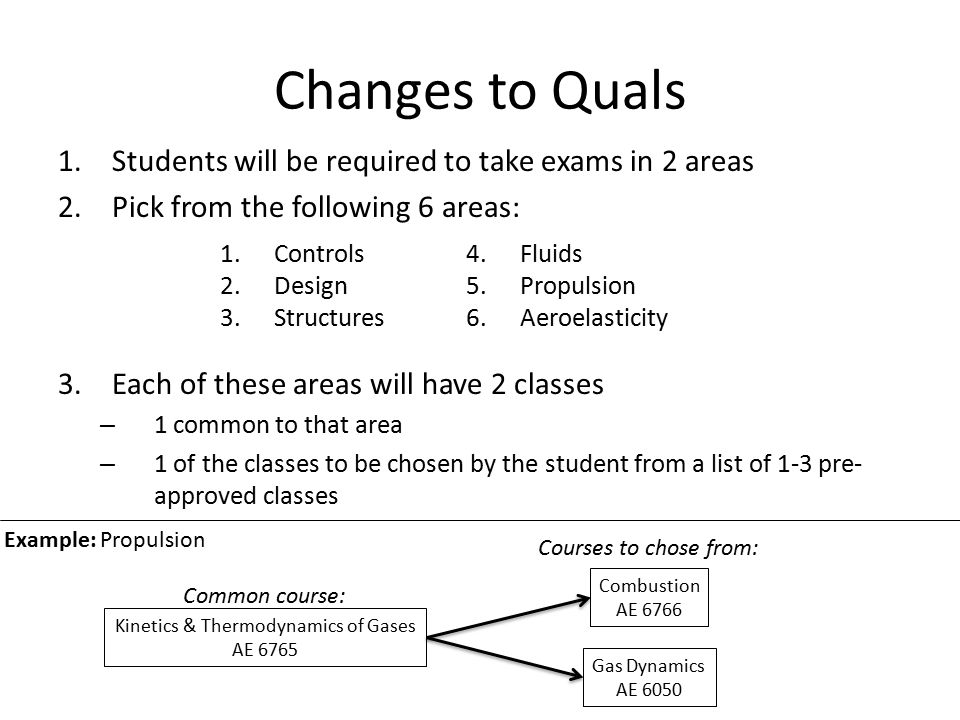 Changes to Quals (the similarities) There will still be 6 professors total (3 per discipline area) Qualifying exams will still be held during the fall and spring only The exams are oral Students are still given two attempts to pass Passing requirements the same – 5 out of 6 votes required to pass – 4 votes allows the 6 professors to open a discussion