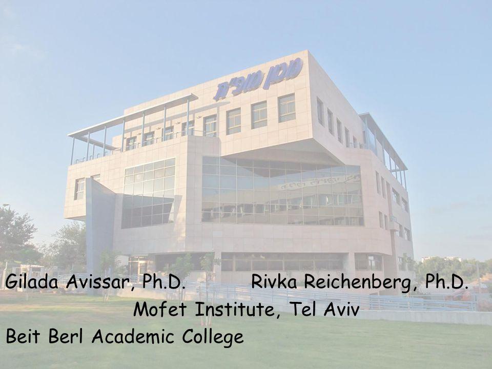Gilada Avissar, Ph.D.Rivka Reichenberg, Ph.D. Mofet Institute, Tel Aviv Beit Berl Academic College