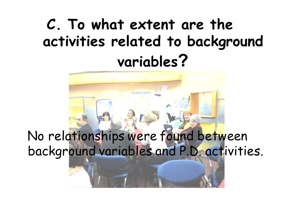 C. To what extent are the activities related to background variables .