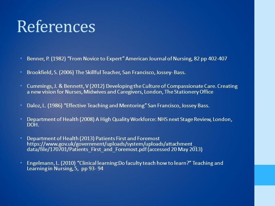 References Benner, P.