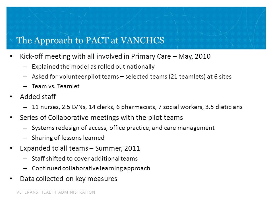 VETERANS HEALTH ADMINISTRATION The Approach to PACT at VANCHCS Kick-off meeting with all involved in Primary Care – May, 2010 – Explained the model as rolled out nationally – Asked for volunteer pilot teams – selected teams (21 teamlets) at 6 sites – Team vs.