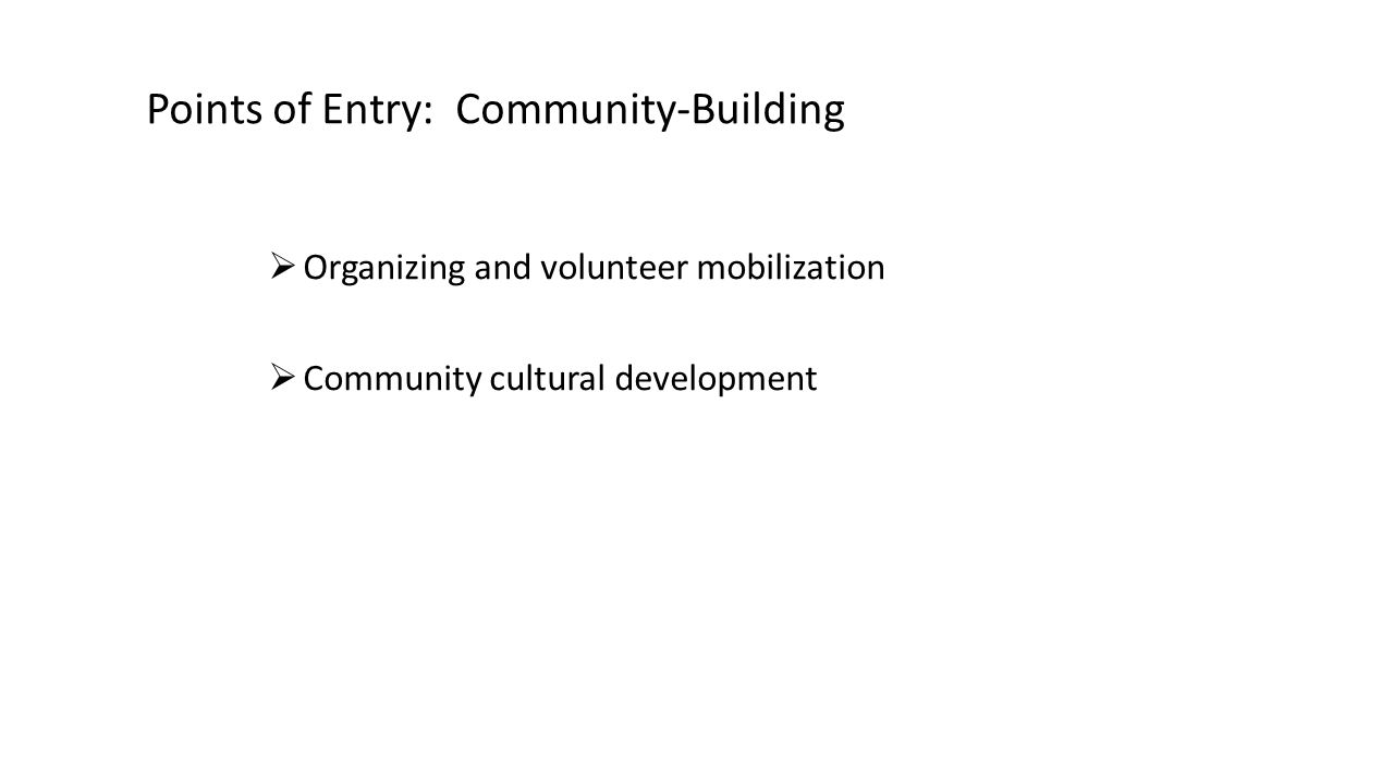 Points of Entry: Community-Building  Organizing and volunteer mobilization  Community cultural development