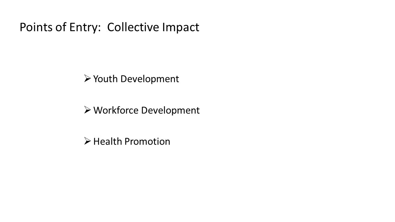 Points of Entry: Collective Impact  Youth Development  Workforce Development  Health Promotion