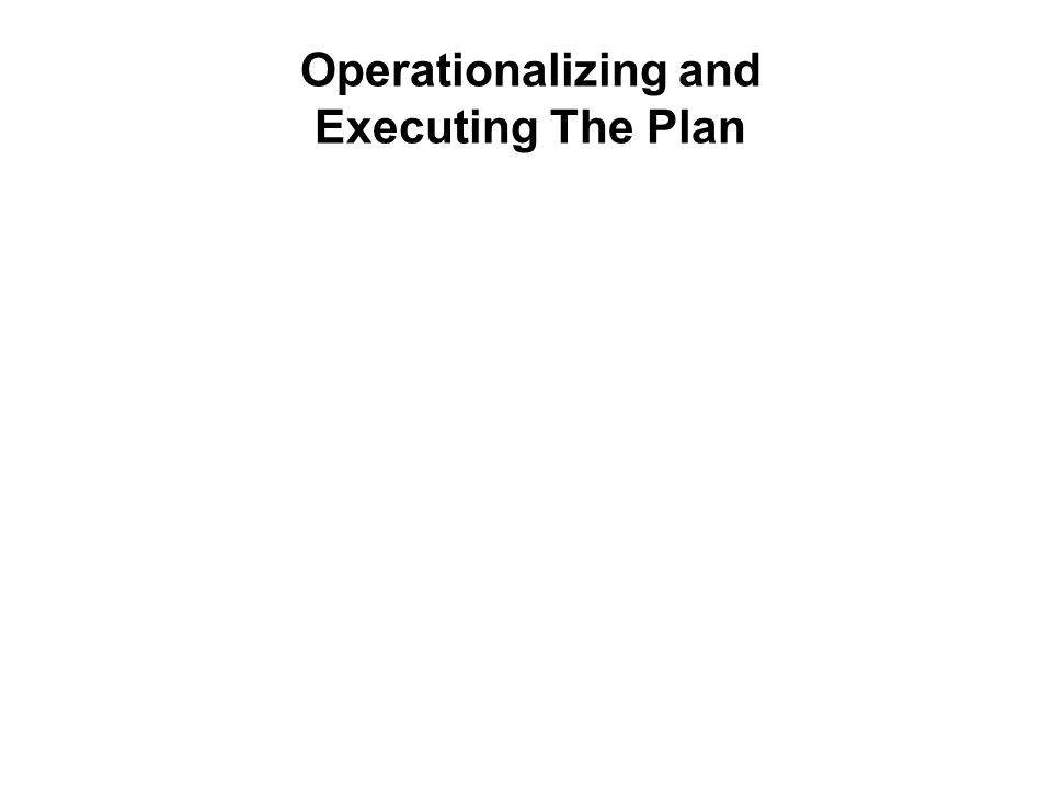 Operationalizing and Executing The Plan