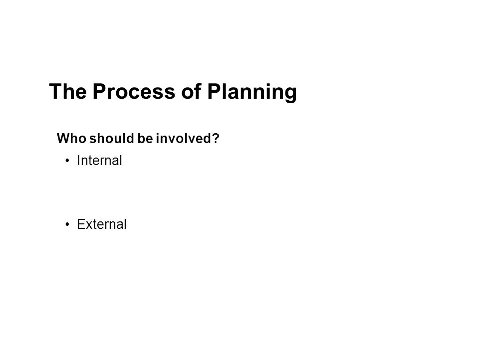 Internal External The Process of Planning Who should be involved