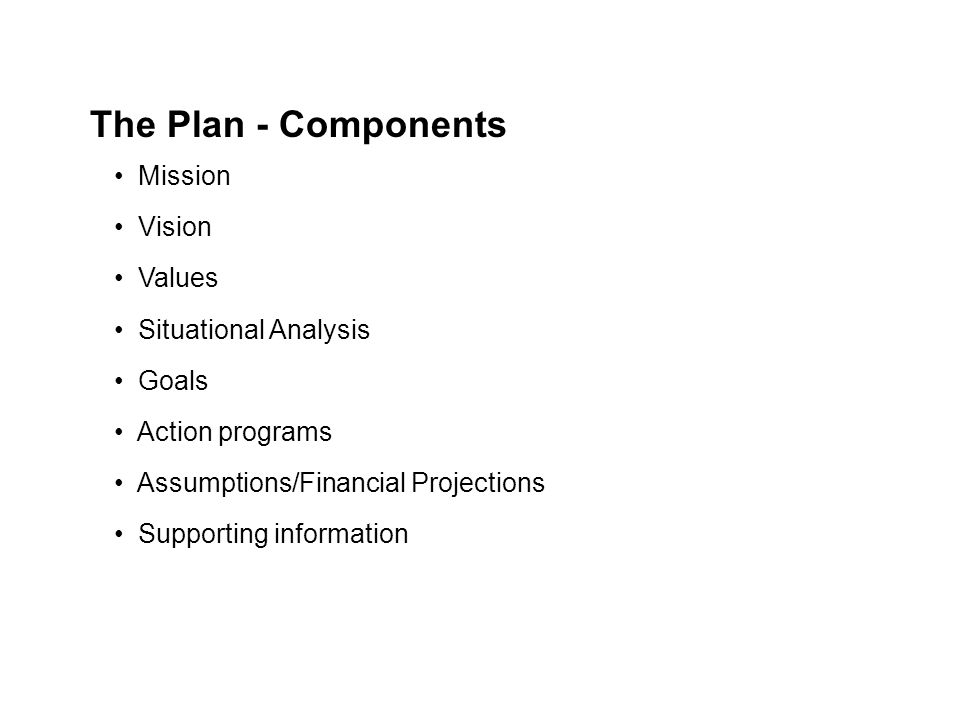 Mission Vision Values Situational Analysis Goals Action programs Assumptions/Financial Projections Supporting information The Plan - Components