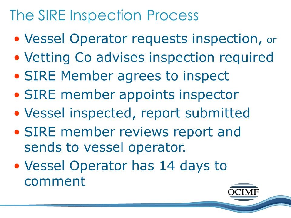 Vessel Operator requests inspection, or Vetting Co advises inspection required SIRE Member agrees to inspect SIRE member appoints inspector Vessel inspected, report submitted SIRE member reviews report and sends to vessel operator.