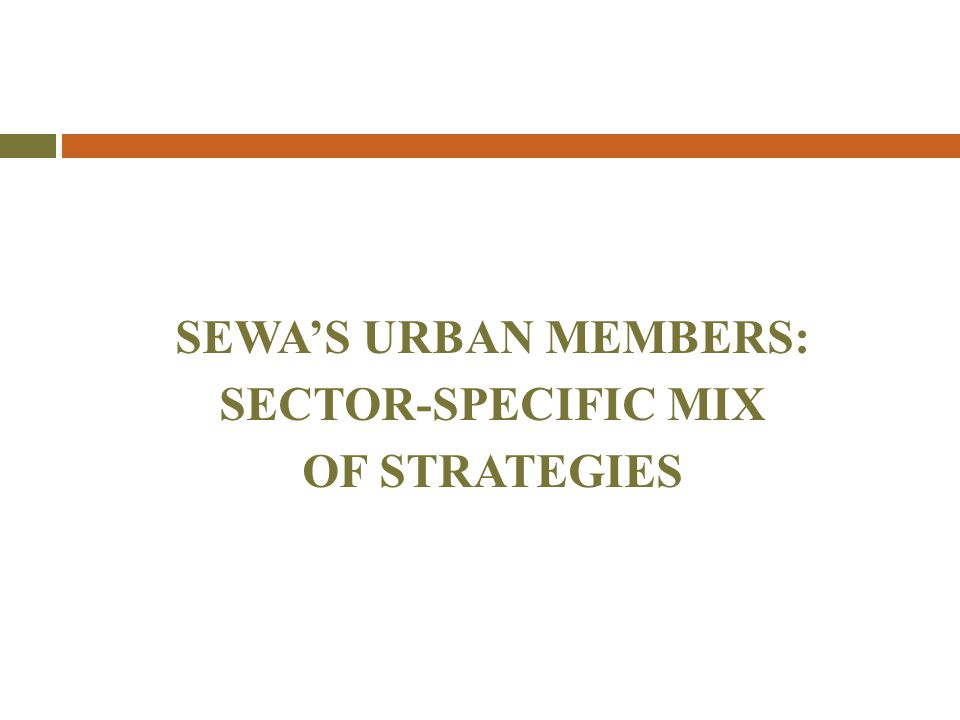 SEWA'S URBAN MEMBERS: SECTOR-SPECIFIC MIX OF STRATEGIES