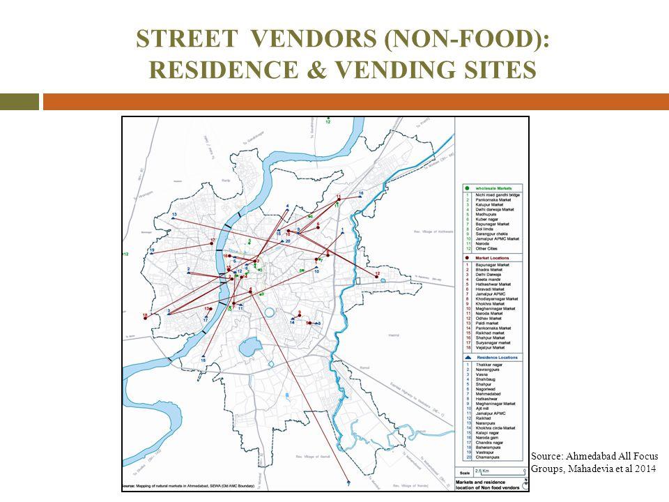 STREET VENDORS (NON-FOOD): RESIDENCE & VENDING SITES Source: Ahmedabad All Focus Groups, Mahadevia et al 2014