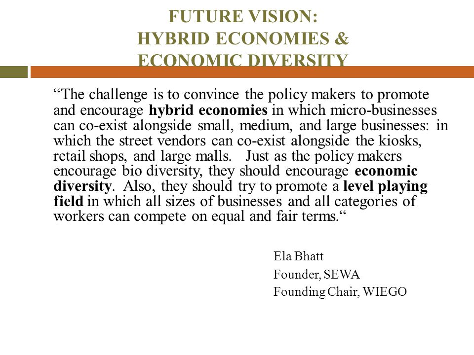 """FUTURE VISION: HYBRID ECONOMIES & ECONOMIC DIVERSITY """"The challenge is to convince the policy makers to promote and encourage hybrid economies in whic"""