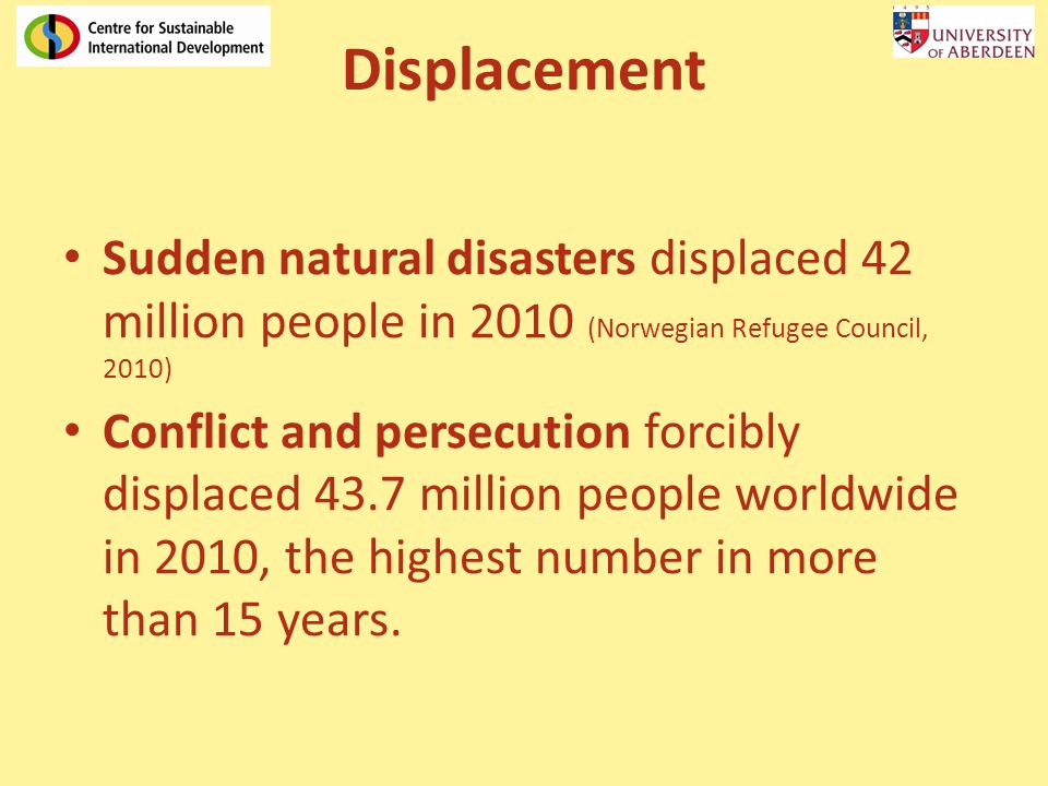 Displacement Sudden natural disasters displaced 42 million people in 2010 (Norwegian Refugee Council, 2010) Conflict and persecution forcibly displace