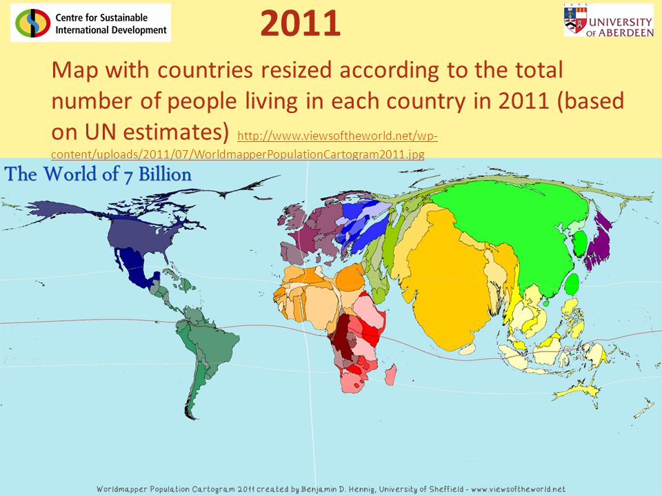 Map with countries resized according to the total number of people living in each country in 2011 (based on UN estimates) http://www.viewsoftheworld.n
