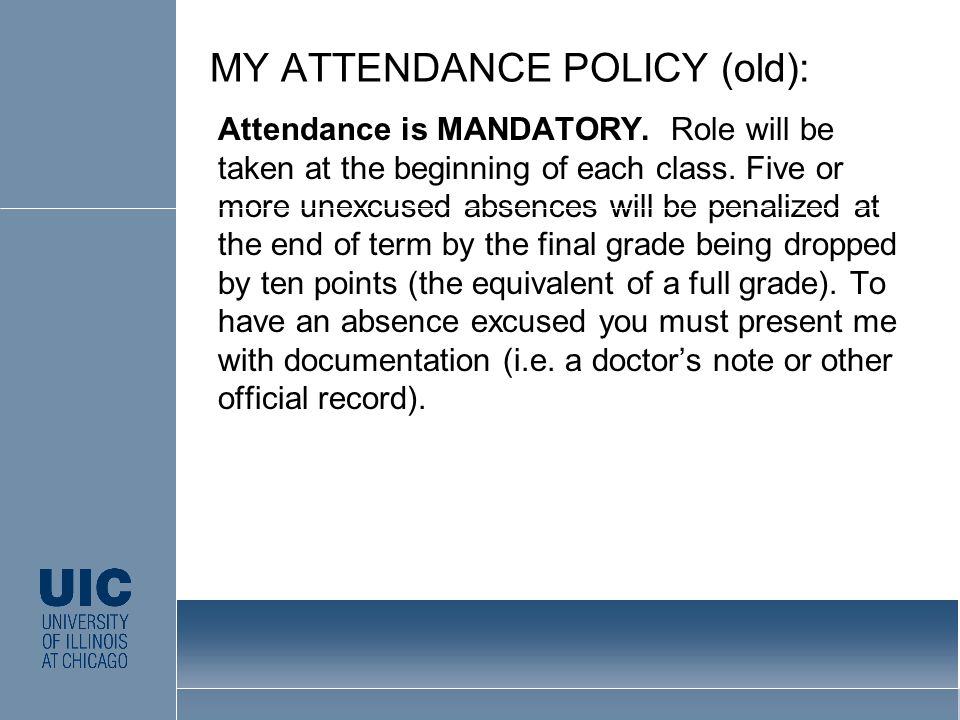 Attendance is MANDATORY. Role will be taken at the beginning of each class.