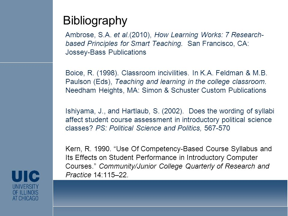 Ambrose, S.A. et al.(2010), How Learning Works: 7 Research- based Principles for Smart Teaching. San Francisco, CA: Jossey-Bass Publications Boice, R.