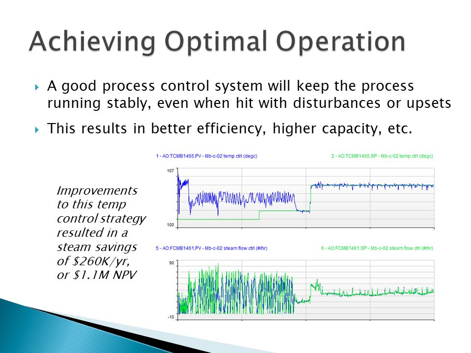  Running at the optimal operating conditions can maximize production rate and yield, improve energy consumption, and is crucial for product quality  However, these objectives often compete ◦ Best product quality may be attained at the cost of additional energy consumption  Advanced Control techniques can help with balancing this tradeoff