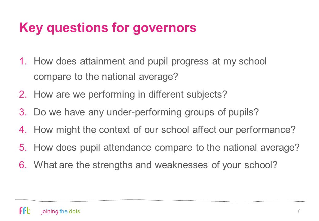 joining the dots Key questions for governors 1.How does attainment and pupil progress at my school compare to the national average? 2.How are we perfo
