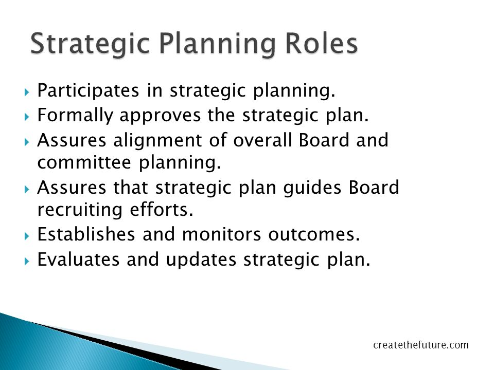  Participates in strategic planning. Formally approves the strategic plan.