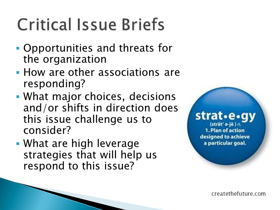  Opportunities and threats for the organization  How are other associations are responding.