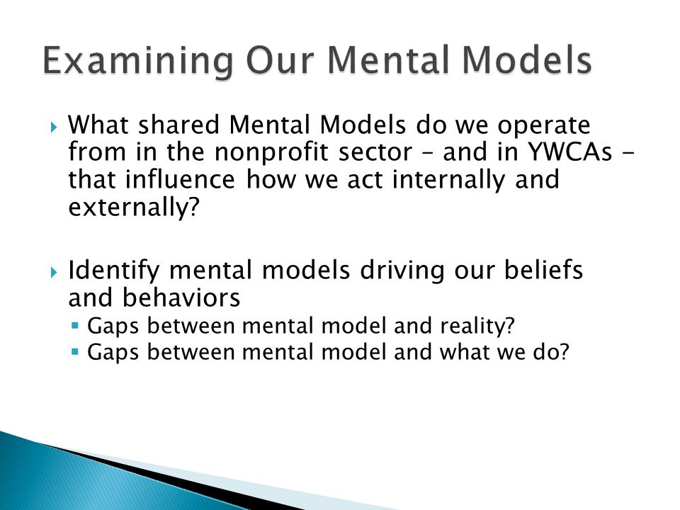  What shared Mental Models do we operate from in the nonprofit sector – and in YWCAs - that influence how we act internally and externally.