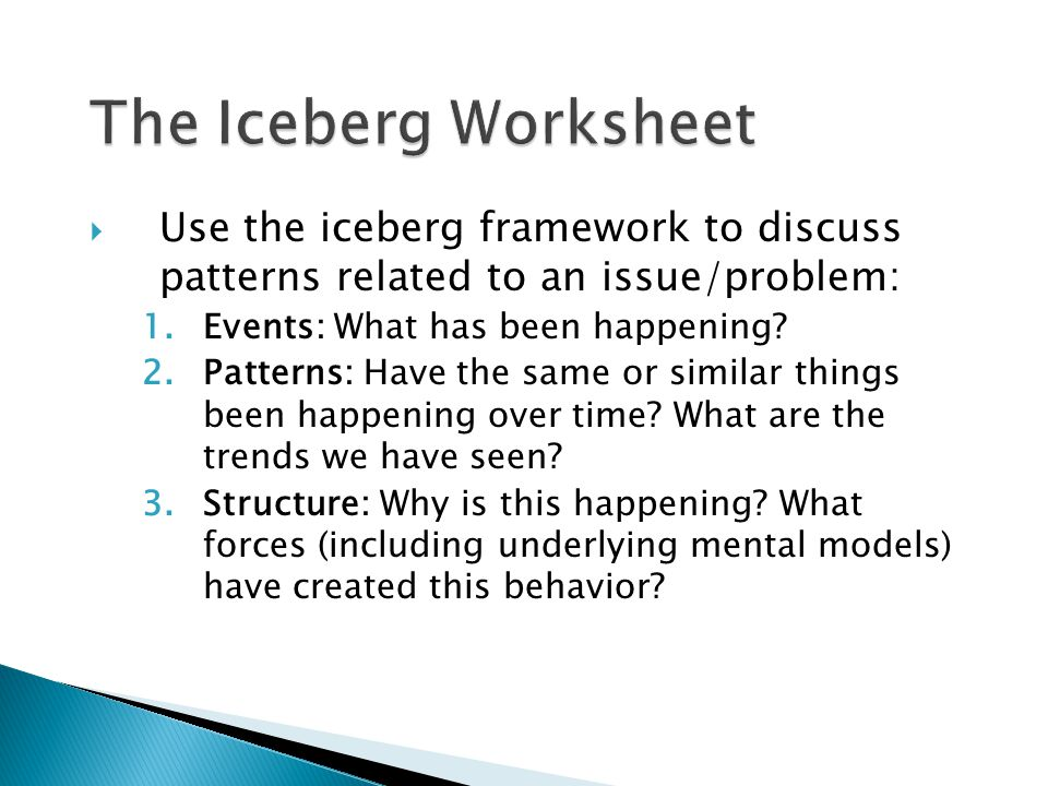  Use the iceberg framework to discuss patterns related to an issue/problem: 1.Events: What has been happening.