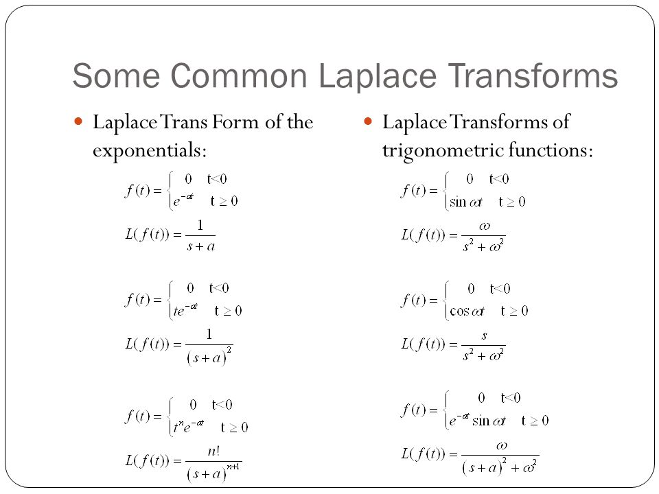 Some Common Laplace Transforms Laplace Trans Form of the exponentials: Laplace Transforms of trigonometric functions: