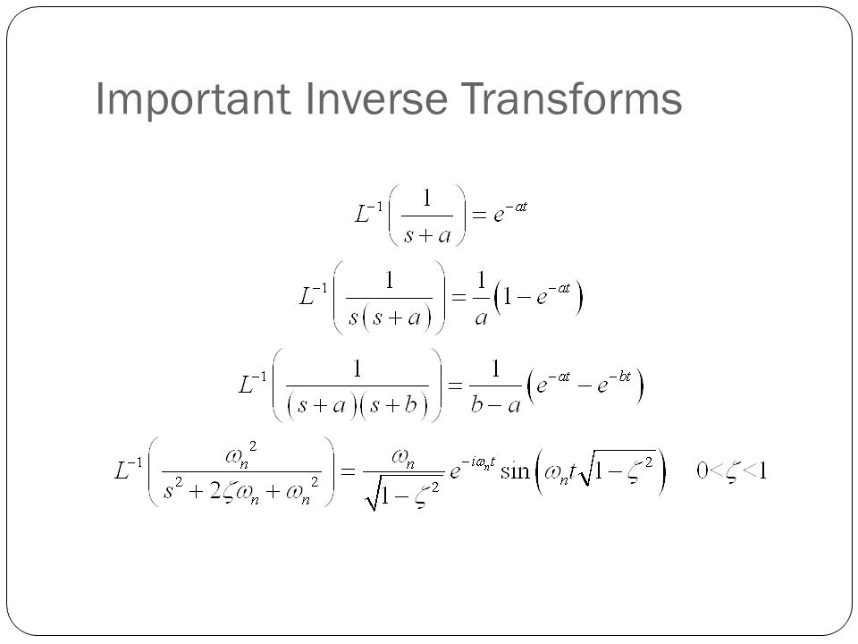 Important Inverse Transforms