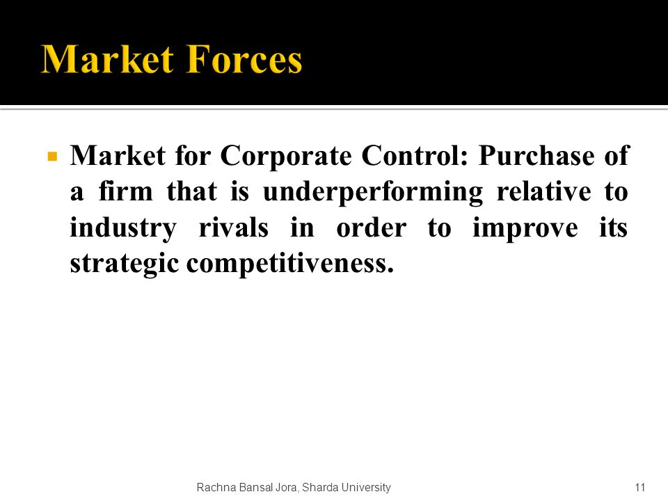 Market for Corporate Control: Purchase of a firm that is underperforming relative to industry rivals in order to improve its strategic competitiveness.