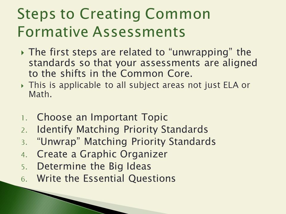 """ The first steps are related to """"unwrapping"""" the standards so that your assessments are aligned to the shifts in the Common Core.  This is applicabl"""